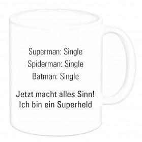 """Tasse """"Superman: Single, Spiderman:..."""""""