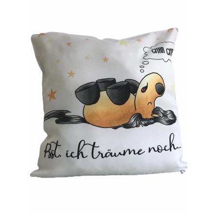 """Kissen beige-weiß Kugelrösser """"Schlafend"""""""