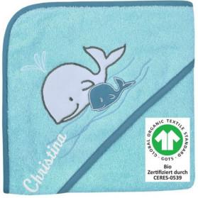 Kapuzen-Badetuch Walfamilie kristall BIO Zertifiziert