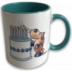"""Tasse Kugelrösser """"Happy Birthday"""" zweifarbig"""
