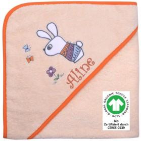 Kapuzen-Badetuch Hase mit Schmetterlingen rosé - BIO Zertifiziert