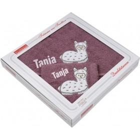 mauve mit Lama bestickt - Geschenk-Karton - Kapuzen-Badetuch mit Waschhandschuh - ÖKO-TEX
