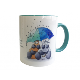 """Tasse Kugelrösser """"Pferde im Regen"""" zweifarbig"""