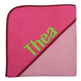 Riesen-Kapuzen-Badetuch Uni rosa/pink 140x140cm